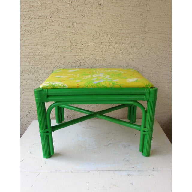 Mid-Century Green Rattan Footstool - Image 3 of 8