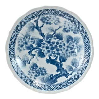 Japanese Blue & White Cherry Blossom Bowl For Sale