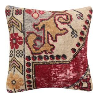 Vintage Bohemian Rug Pillow For Sale