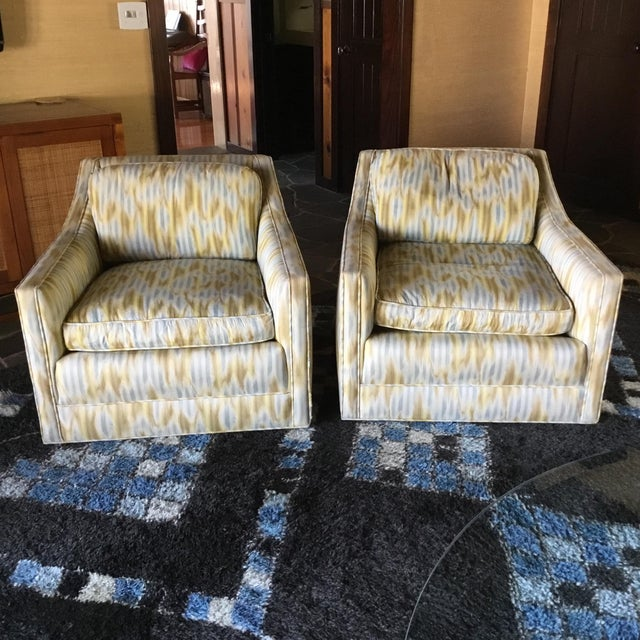 Ikat Swivel Club Chairs - a Pair - Image 2 of 3
