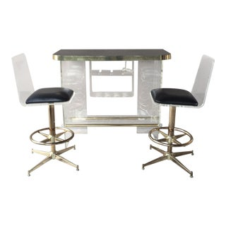 70's Mod Space Age Lucite Bar with 2 Lucite Bar Stools For Sale