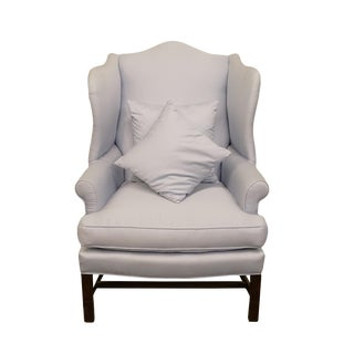 Late 20th Century Vintage Henredon Baby Blue Upholstered Wingback Chair For Sale