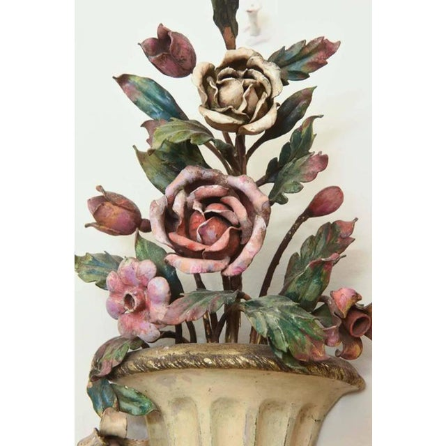 Bronze Pair of Finely-Made Floral Urn Form Wall Sconces, Early 20th Century For Sale - Image 7 of 8