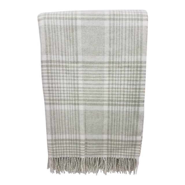 Merino Wool Throw Green Squares - Made in England For Sale