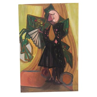 Vintage Mid-Century Female With Fan Original Abstract Oil on Canvas Painting For Sale