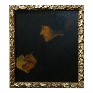 After Hans Holbein 16th century old master -portrait of Philosopher Erasmus of Rotterdam - Oil Painting