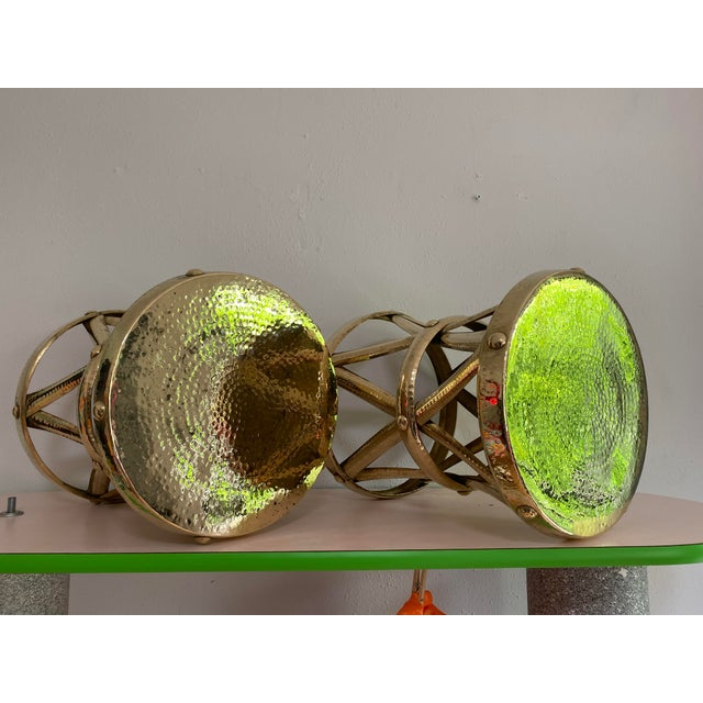 Mid Century Hollywood Regency Polished Brass Drum Tables, a Pair For Sale In Portland, OR - Image 6 of 11