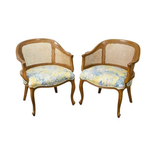 Vintage French Louis XV Style Barrel Back Caned Bergere Chairs - a Pair For Sale