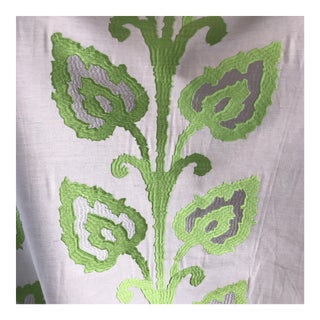Linen Green Embroidered Vine Fabric - 3 3/4 Yards