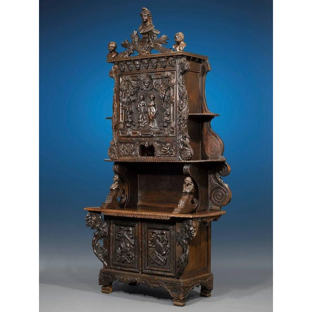 This beautifully carved America-France Liberty cabinet was created for the Louisiana State Exhibit at the 1904 St. Louis...