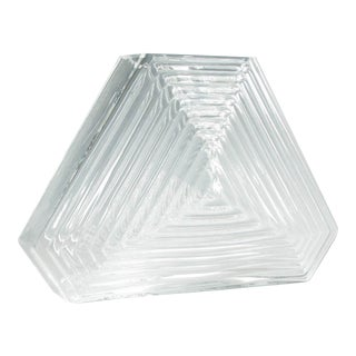2002 Blenko Geometric Crystal Glass Pyramid Vase For Sale