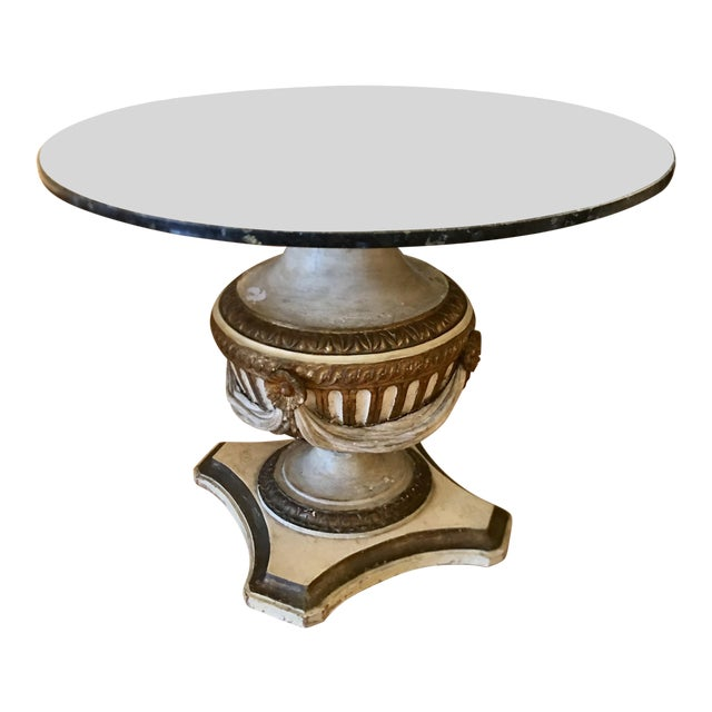 Antique Carved Italian Paint Decorated Pedestal Table W Granite Top For Sale