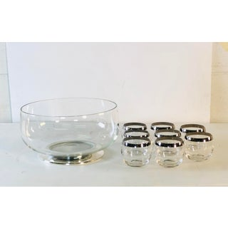 1960s Punch Bowl Set With Silver Rim Tumblers, Set of 9 Preview