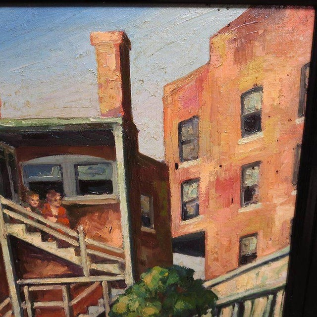 Original American Urban Scene Oil Painting by Thaddeus J. Haduch, 1947 For Sale - Image 4 of 8