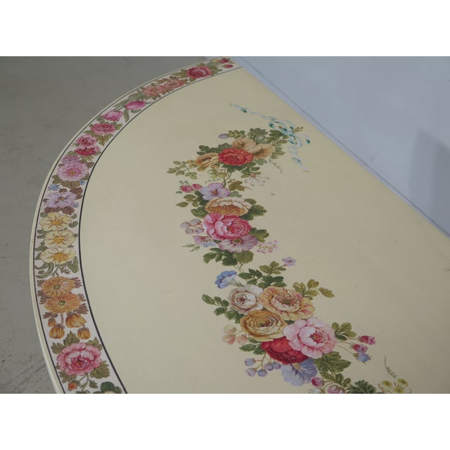 Cottage Adam Style Paint Decorated Demi-lune Console Table For Sale - Image 3 of 11