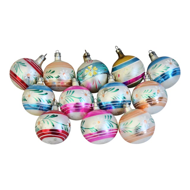 Colorful Christmas.Midcentury Vintage Colorful Christmas Tree Ornaments W Box Set Of 12