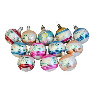 Midcentury Vintage Colorful Christmas Tree Ornaments withBox - Set of 12 For Sale