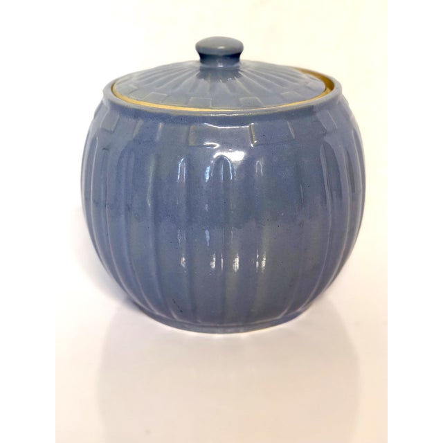 1930s Vintage Watt Pottery Blue Squares Covered Casserole Dish For Sale - Image 6 of 6