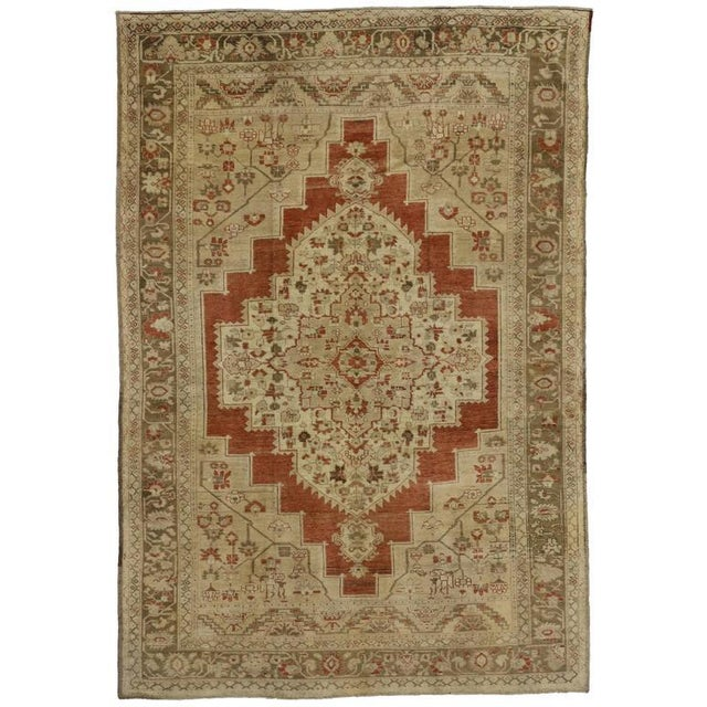 Vintage Mid Century Turkish Oushak Rug- 6′4″ × 9′3″ For Sale In Dallas - Image 6 of 6
