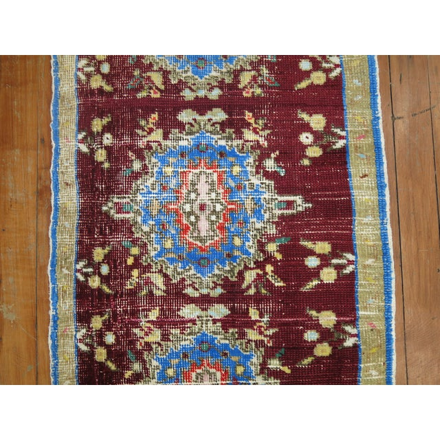 Vintage Anatolian Chinese Red Color Rug, 1'7'' x 3'2'' For Sale - Image 4 of 5