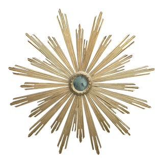Mid-Century Italian Gilt Wood Sunburst Mirror