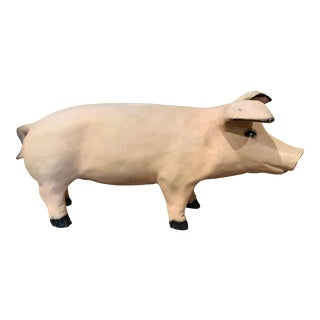 Mid-20th Century French Painted Pig Sculpture For Sale