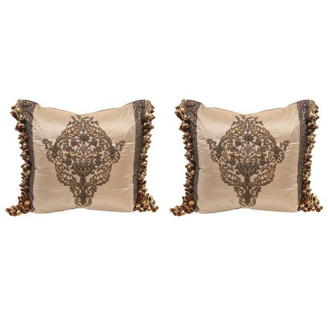 French Pair 18th c. French Metal Thread Pillows For Sale - Image 3 of 3