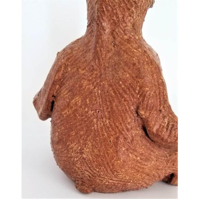 Vintage 1970s Danish Modern Studio Art Pottery Bear Sculpture- Signed For Sale - Image 9 of 13