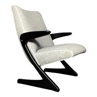 "Bengt Ruda ""Z"" Ebonized Lounge Chair, Sweden 1950s For Sale"