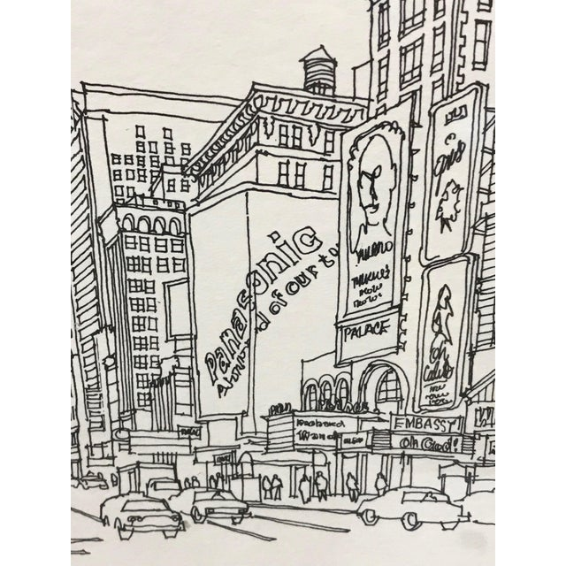 """""""Times Square, NYC 1978"""" Signed and Numbered Line Drawing by Richard Welling For Sale In Los Angeles - Image 6 of 10"""