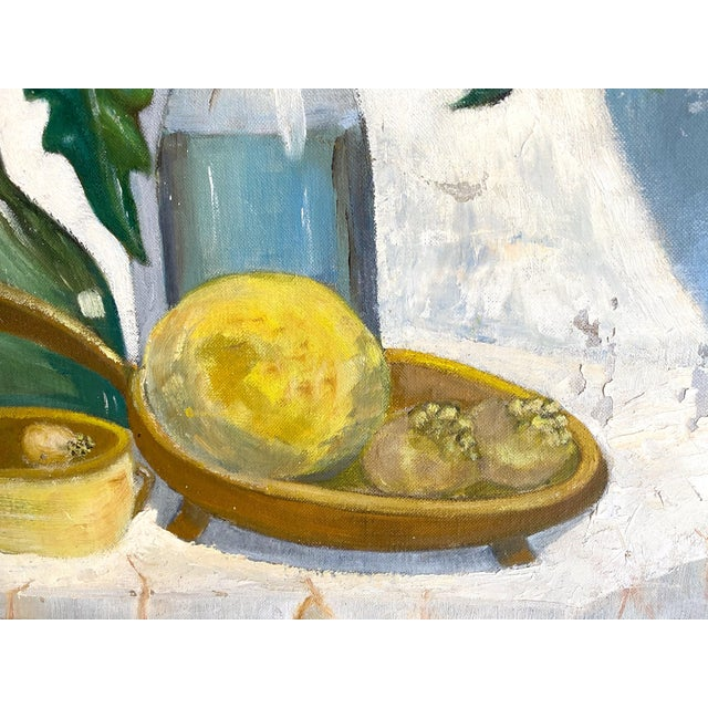 Mid-Century Modern 1960's Still Life Painting Oil on Canvas Framed and Signed For Sale - Image 3 of 10