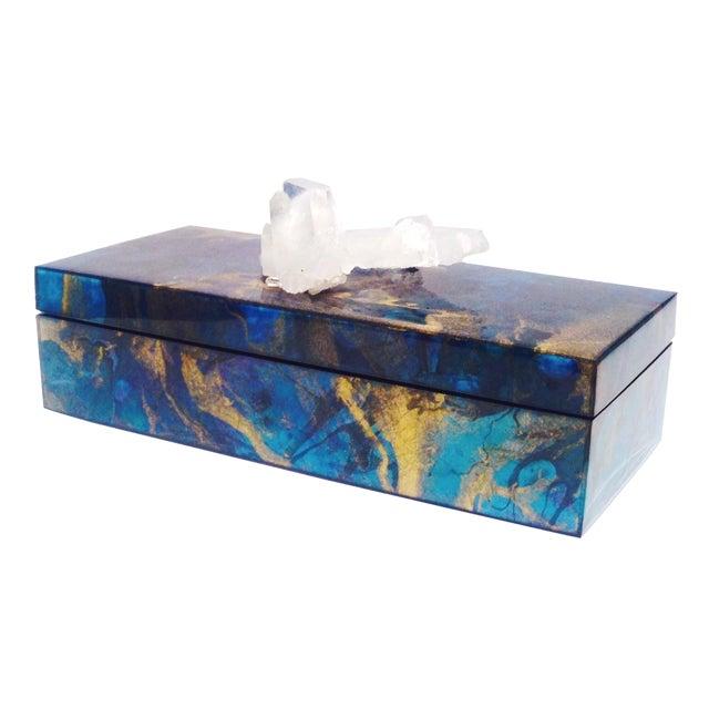 Metallic Marbleized Lacquer Box With Quartz For Sale