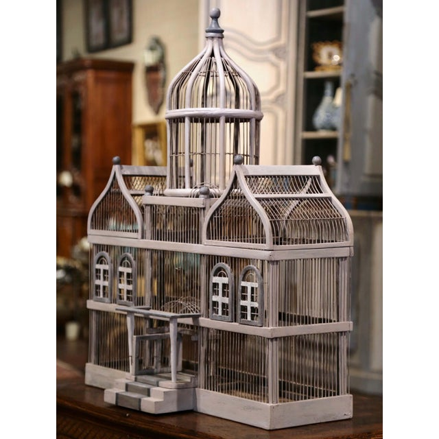 Paint Early 20th Century French Carved and Painted Wooden and Wire Birdcage For Sale - Image 7 of 10