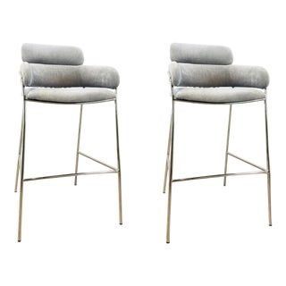 Interlude Home Modern Gray Velvet Counter Stools - a Pair For Sale