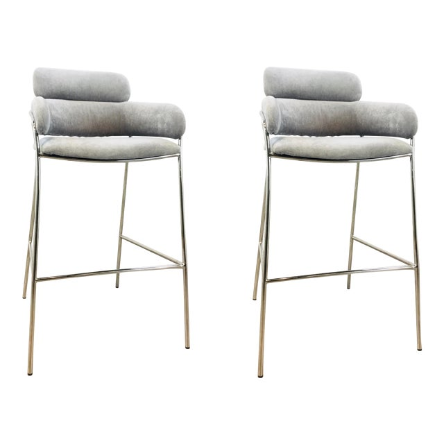 Interlude Home Modern Gray Velvet Counter Stools - a Pair For Sale