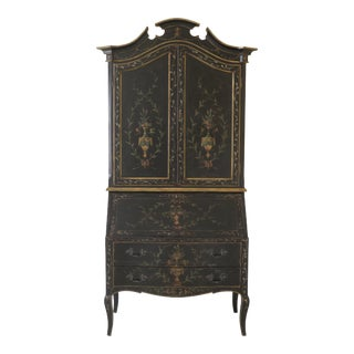 Venetian Style Stunning Paint Decorated Secretary Desk For Sale