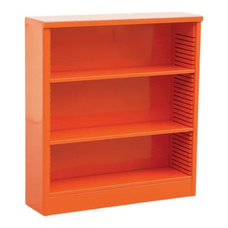 1960s Tanker Style Steel Bookcase Refinished in Tangerine For Sale