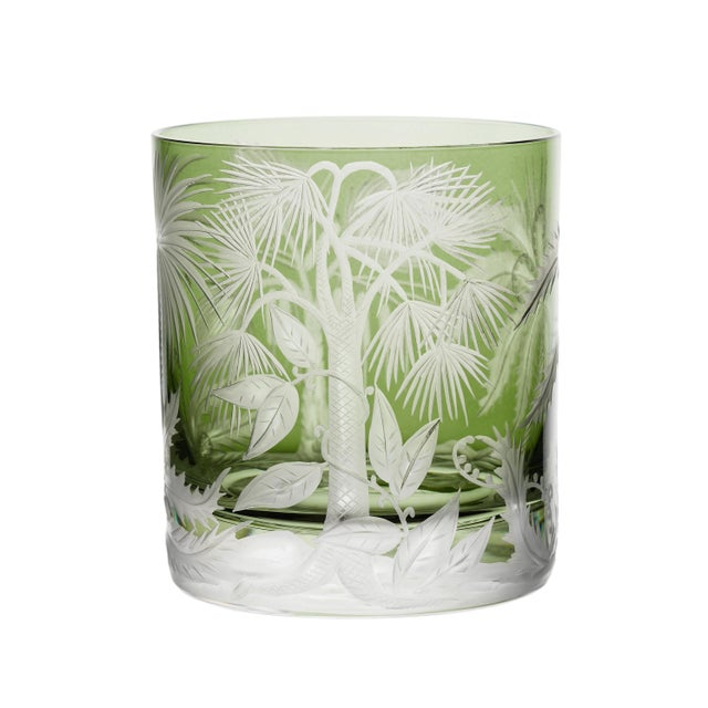 ARTEL Primeval Palms Double Old Fashioned Glass in Khaki Green - Set of 6 For Sale - Image 6 of 7