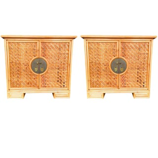 Chinoiserie Woven Bamboo Chest - A Pair For Sale