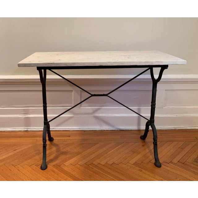 20th Century Traditional Marble Top Table With Cast Iron Base For Sale In New York - Image 6 of 6