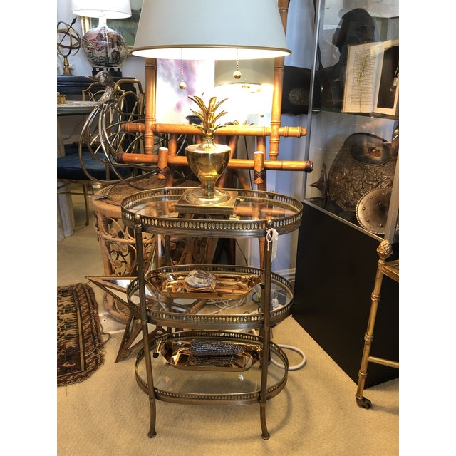 French Petite Brass Three Tier Gallery Table, After Maison Jansen For Sale - Image 12 of 13