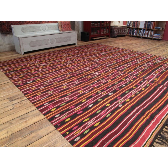 A matching pair of goat hair Kilims, joined to make a large floor cover. Rare find and the colors are great.