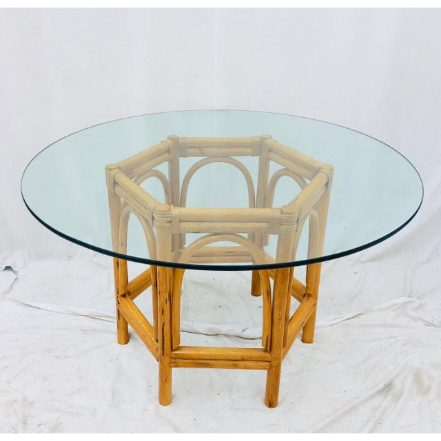 Stunning Vintage Mid Century Bent Rattan & Bamboo Table with Round Glass Top by Ficks Reed. Original & Natural Honey...