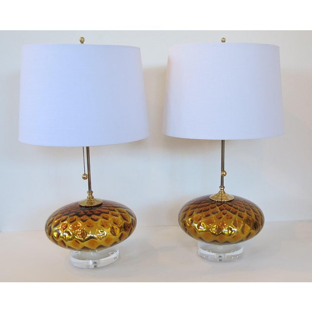 Vintage Gold Mercury Murano Glass Lamps - A Pair - Image 6 of 7