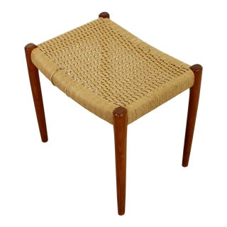 Mid Century Modern Neils Moller Danish Rope Teak Bench Seat Footstool 1960s For Sale