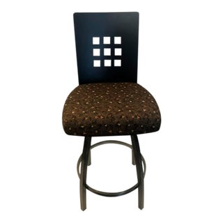 Contemporary Wood Back Swivel Counter Stool For Sale