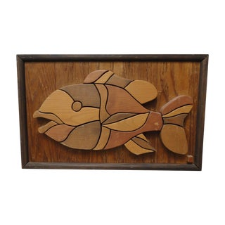 Wooden Mosaic Fish Sculptural Art Piece For Sale