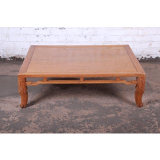 Michael Taylor for Baker Hollywood Regency Chinoiserie Elm Wood Large Coffee Table Preview