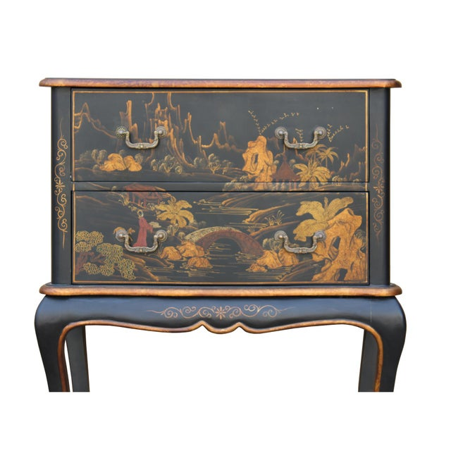 Black Chinese Oriental Black Gold Lacquer Scenery Graphic Credenza Side Table For Sale - Image 8 of 11