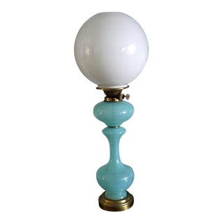 Art Deco Style Pale Robbin Egg Blue Opaline Glass Table Lamp For Sale